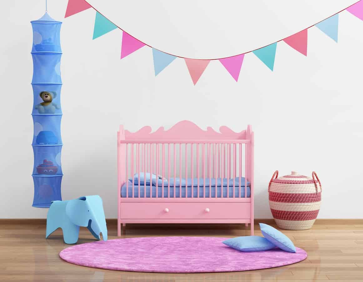 This colorful nursery room will stir your baby girl's young imagination. From the walls, to the toys down to the rugs, the colors look absolutely cute.