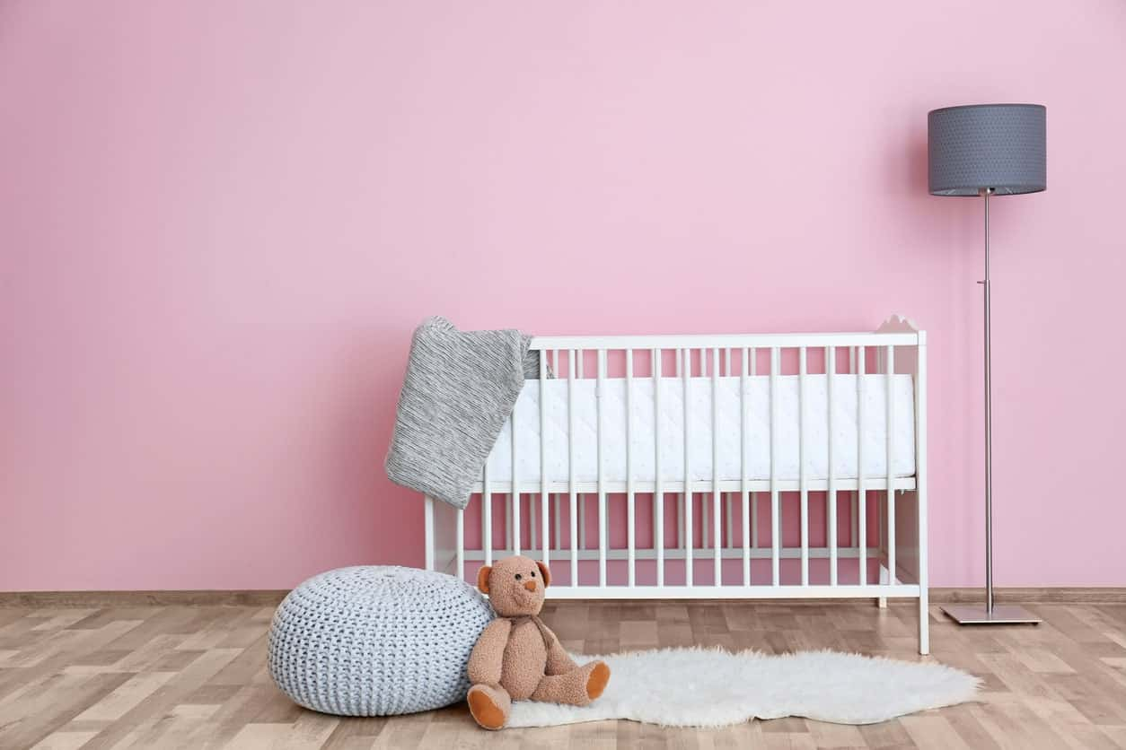 This pink and spacious nursery room is perfect for your baby girl learning to enjoy herself. The pink walls and hardwood flooring looks perfect with each other.