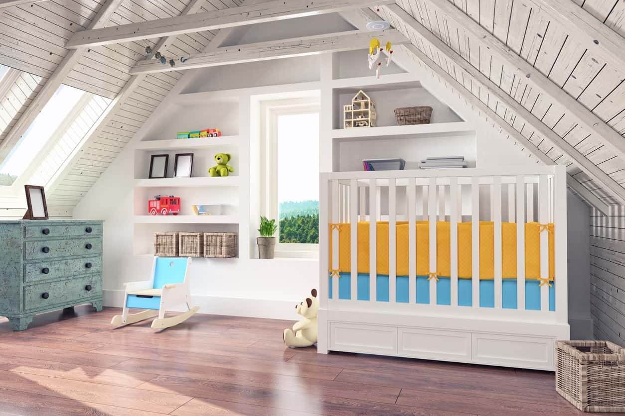 Here's a baby nursery in the attic.  It's actually really nice with build in shelving, a crib and distressed dresser.  Includes skylights for plenty of light.