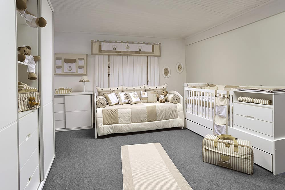 I love this design because of all the storage.  The amount of baby stuff you accumulate in the first 2 years is ridiculous and this nursery accounts for that with multiple storage options.