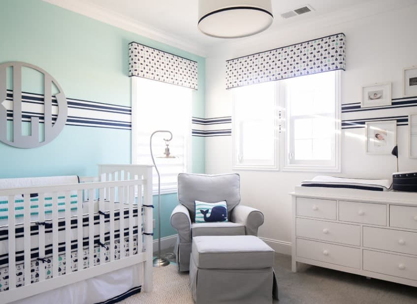 Sometimes, you can use the simplest patterns and create your own unique twist by playing around with placement. This off-center stripe running through the walls may be irritating to those who prefer perfect symmetry but we think it looks super cool and goes perfectly with the funky patterned curtains and wall décor.