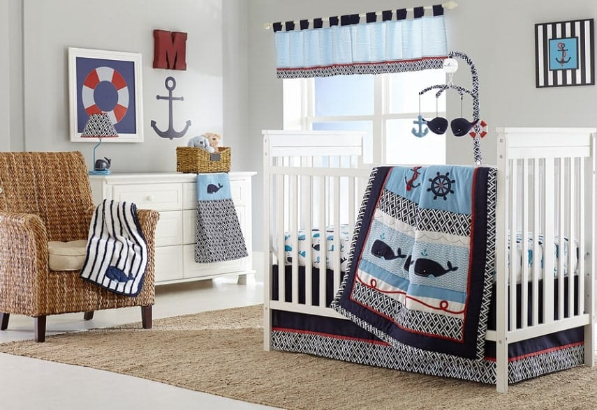 We love this adorable marine themed nursery. The ocean makes for a great themed nursery because of the natural shades of blue. The patterns and shapes of the sea and harbor are a great way to keep your baby interested as he grows.