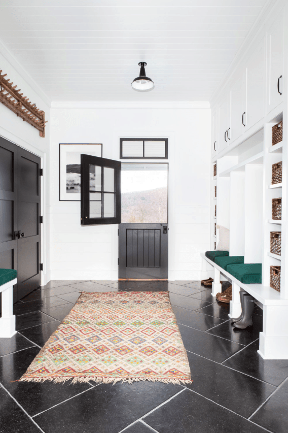 Fabulous farmhouse mudroom with custom built coat lockers by chango & co.