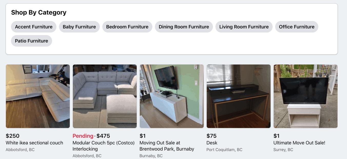 Facebook Marketplace furniture categories