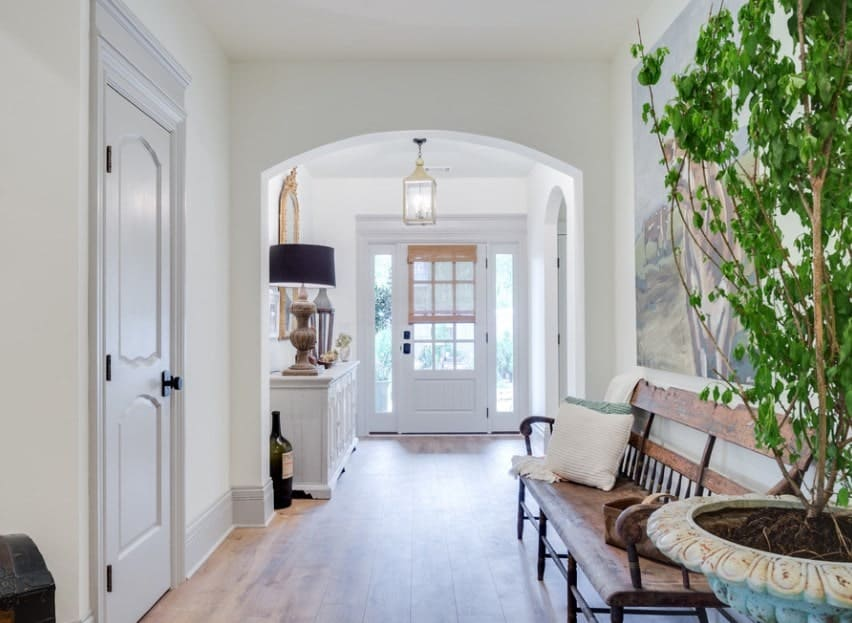 Bright farmhouse foyer setup with a hardwood flooring and white walls and ceiling. The wall decor is stylish while the indoor plant adds color to the house.
