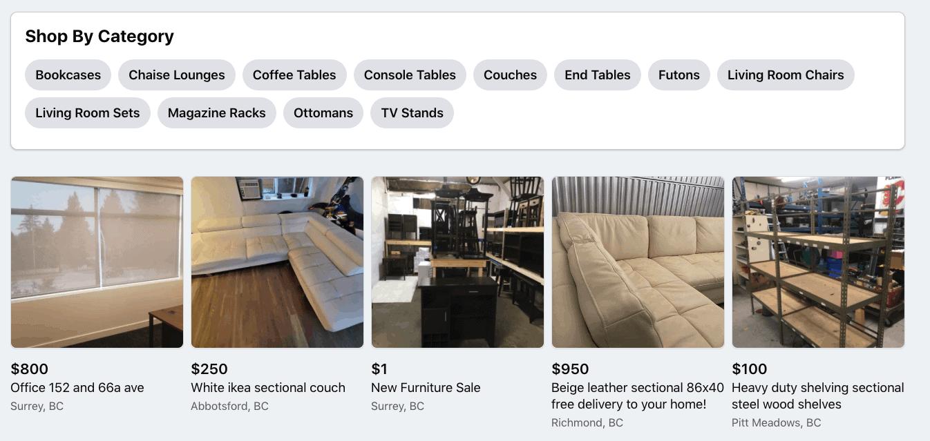Facebook Marketplace living room furniture options