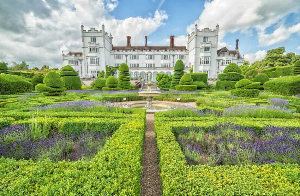 Massive formal knot gardens on property of huge castle mansion