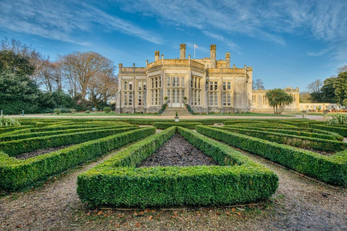 Huge knot garden on property of large English mansion