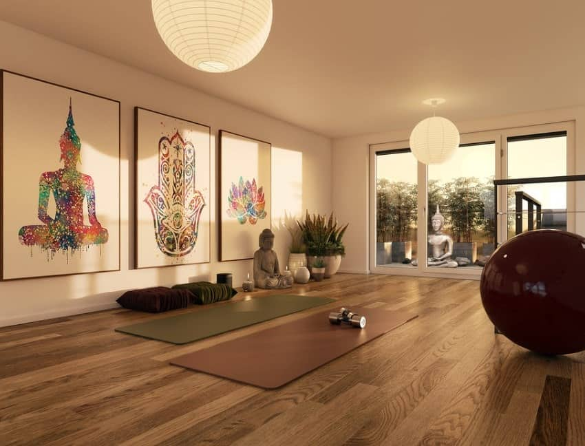Meditation spaces can be decorated with apt paintings and statues for a more authentic look.