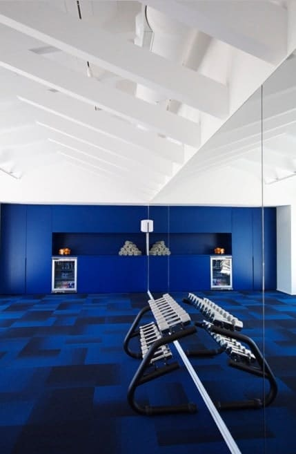 You can add an interesting carpet that sets a great mood in your gym. It can add a nice note of contrast to the white walls of the gym.