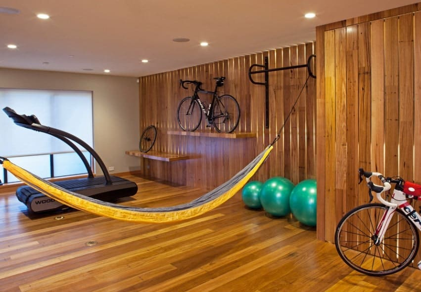If you are really into bicycling, make sure that you have a space to warm up and then cool down in. A treadmill will allow you to warm-up, while a relaxing hammock and good music can slow down your heart rate in a healthy manner.