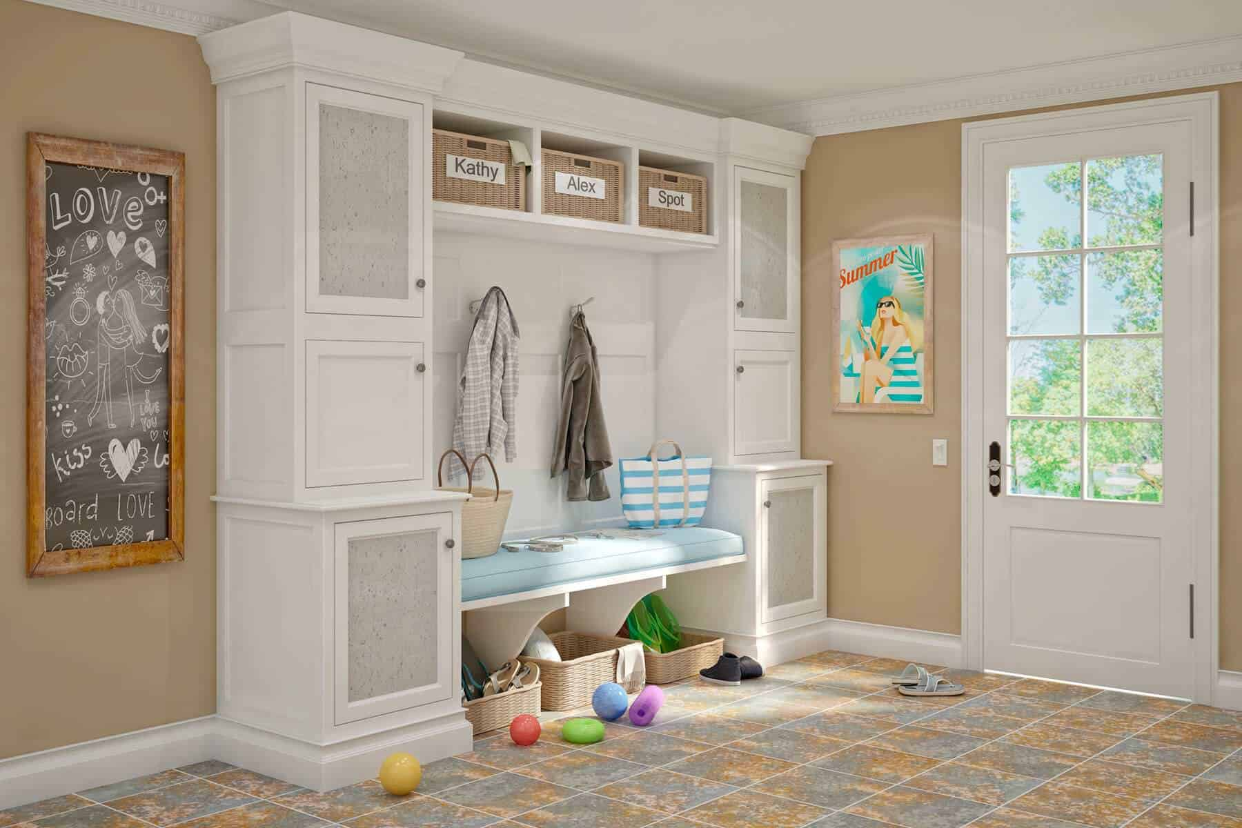 This is a very cute mudroom with a storage compartment that has separate spaces assigned for family members and also has a door, allowing for a few glimpses of the outdoor nature.