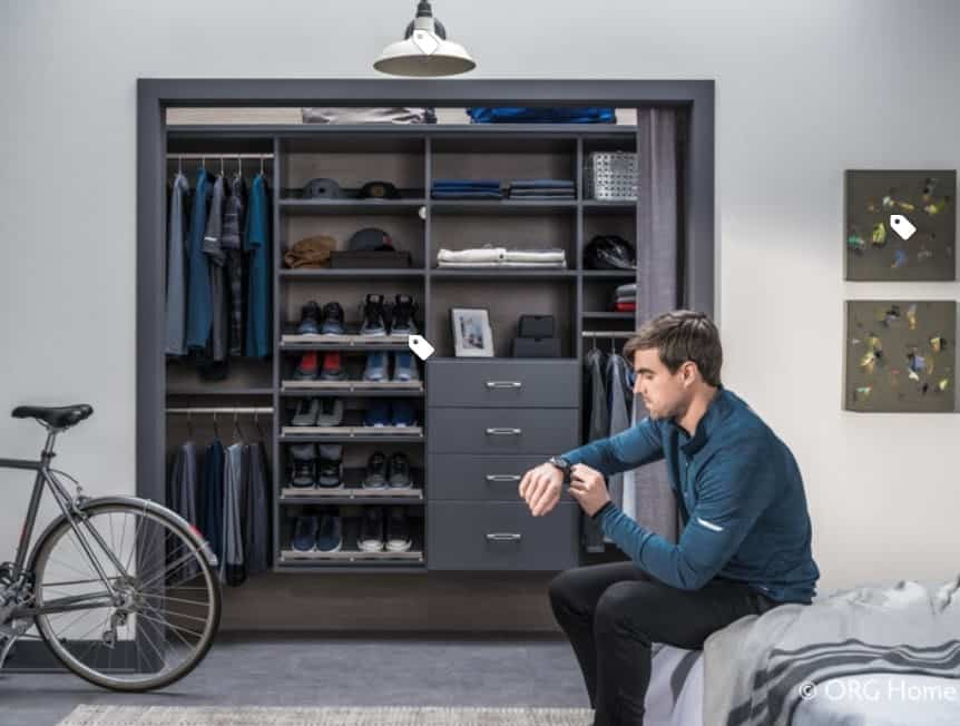 A perfect clothing storage space for a working man, this open plan closet has straight practical lines, plenty of shelves to organize clothes and even some left over for sentimental items. The deep sleek silver tones of the closet perfectly represent an industrial, high-tech, sophisticated and modern man.