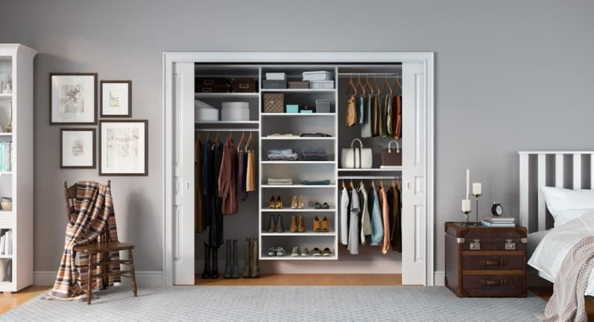 Simplicity is much understated; however, as this closet organizer shows, it can be a thing of beauty. This clear-cut, streamlined and straight forward white closet is the perfect solution for all your clothing and accessory storage needs. The closet offers multiple flat tiered shelves for smaller objects as well as longer space for hanging shirts and dresses. The closet is down-to-earth, yet very attractive.