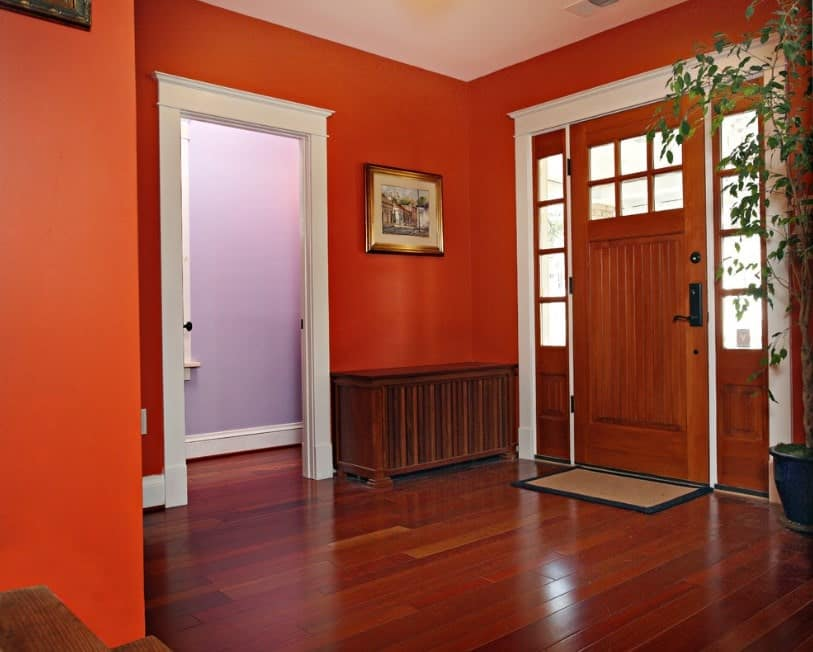 This foyer is surrounded by reds all over the place. The reddish floor matches well with the red walls. The indoor plant adds color to the foyer.
