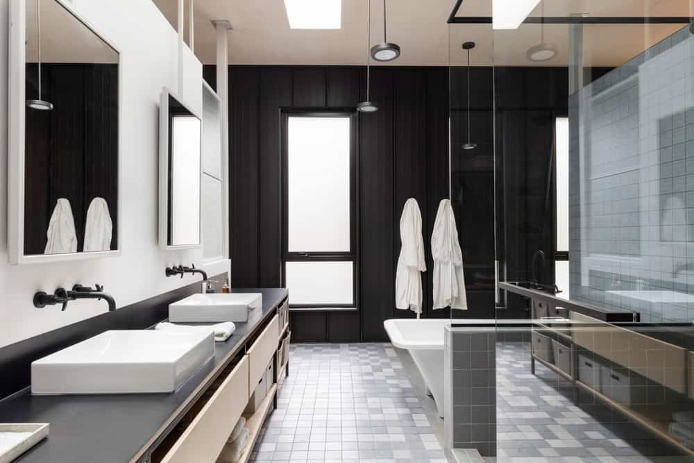 Cool house with very cool black modern bathroom
