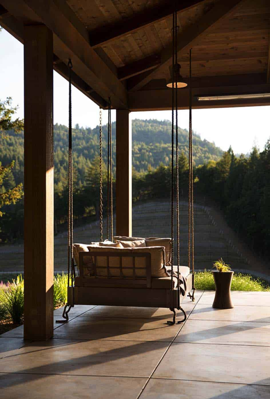 We end the tour with a photo of the suspended swinging porch seat that is deep and comfortable.