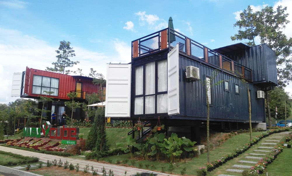 Blue and red large shipping container house
