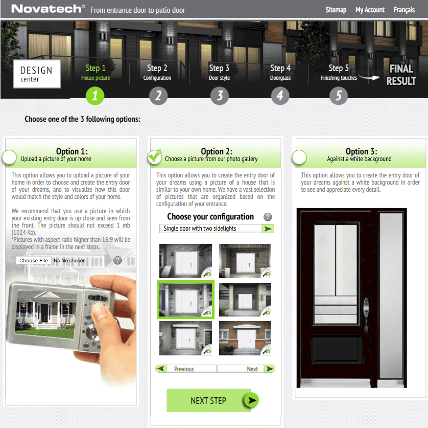 Novatech front door visualizer software