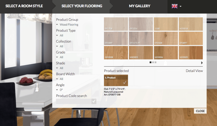 Floor sync floor visualizer flooring selection