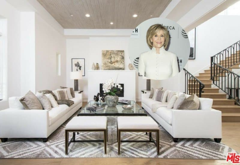 The gorgeous living room in Jane Fonda's luxury town home