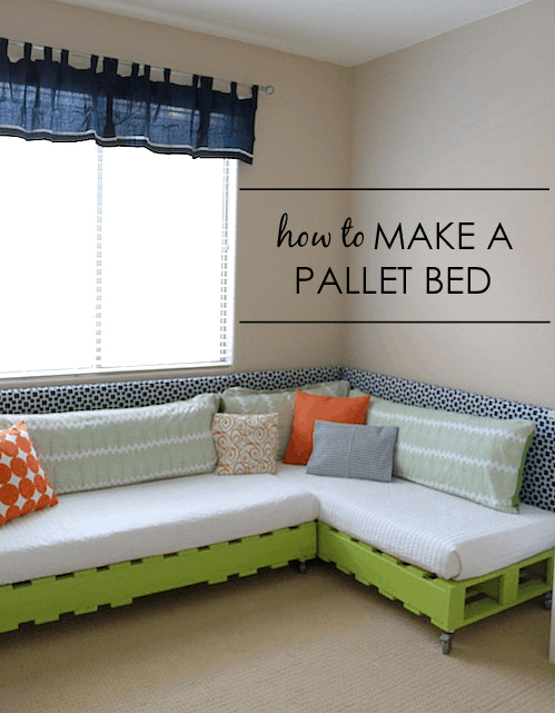 Large L-shaped green corner pallet section that turns into a bed