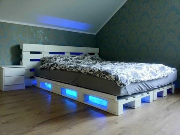 White Painted Pallet Bed with Blue Lighting