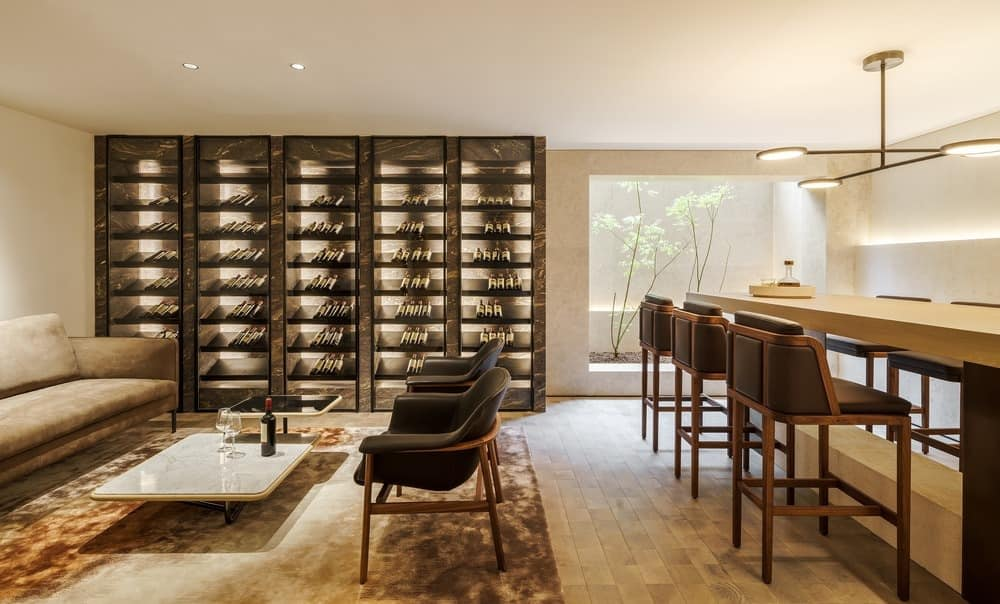 Wine lounge in luxury townhome designed by Mason Studio