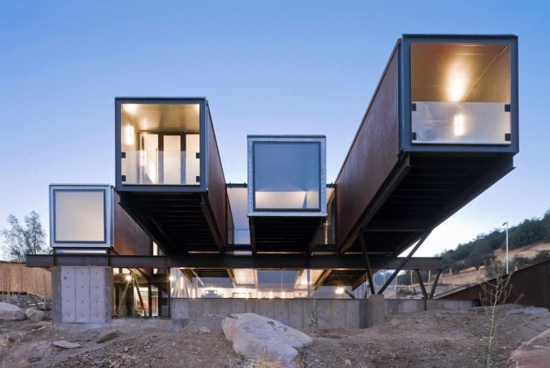High end modern shipping container home by Sebastián Irarrázaval