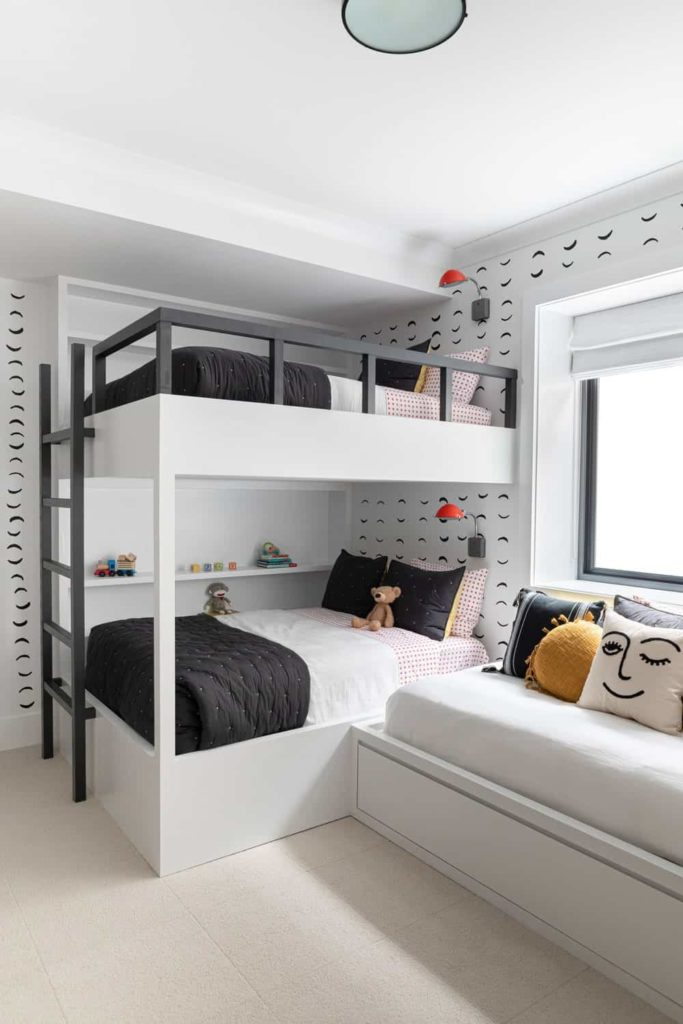 Another look at the kids' bedroom's bunk bed with black and white color scheme.
