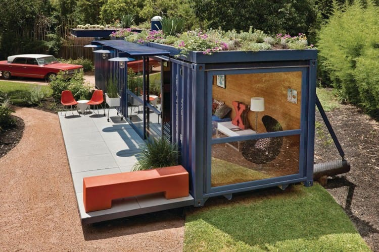 Container guest house with garden roof by Jim Poteet