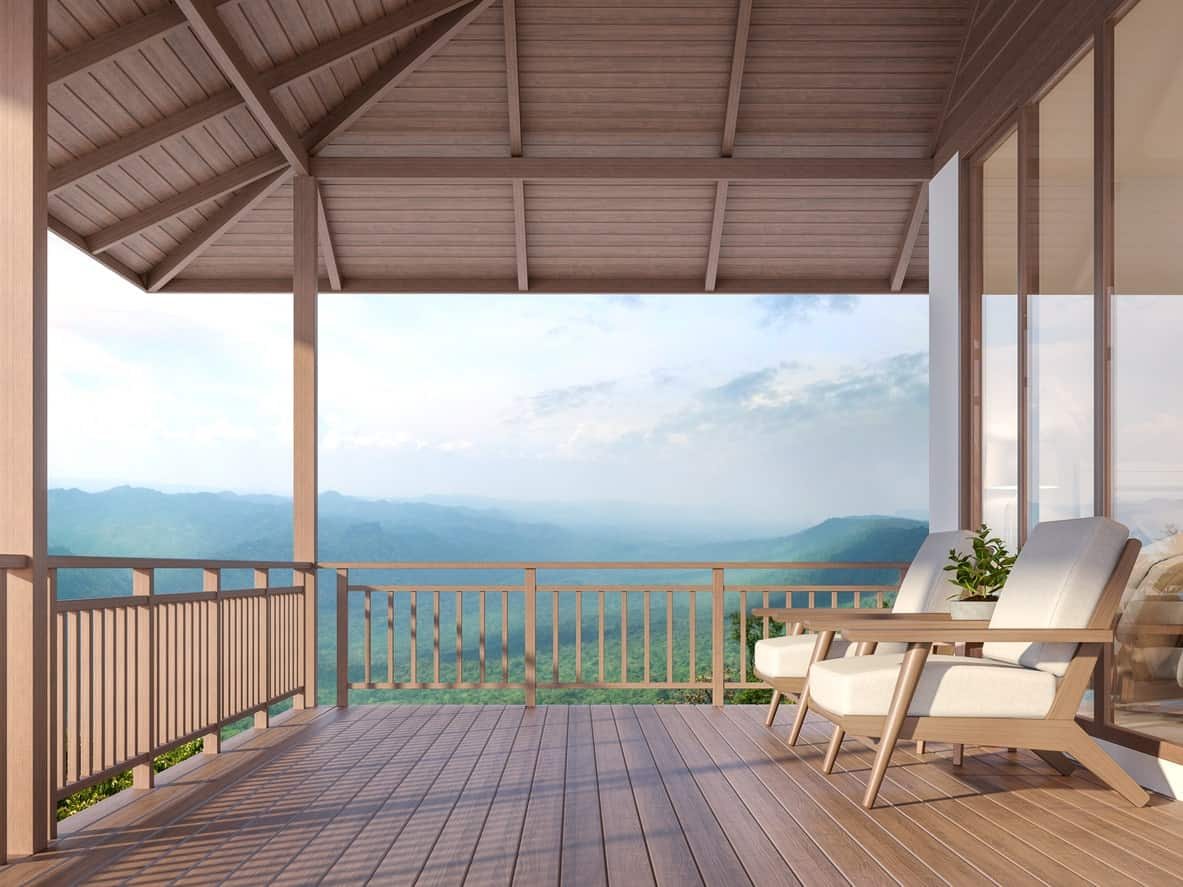 This deck offers a jaw-dropping view of the nature surrounding the property.