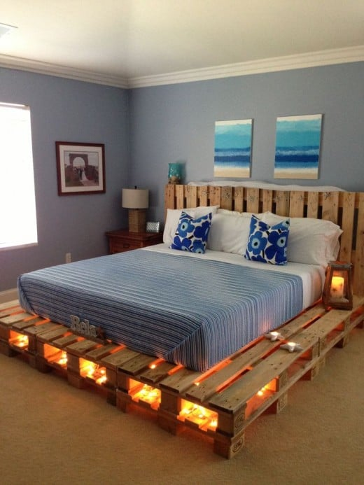 Clever large pallet bed with built-in lighting