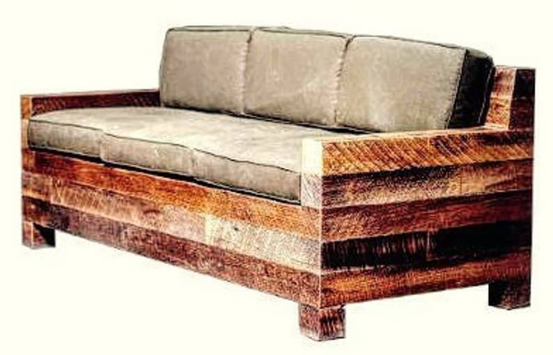 Solid pallet couch with a distressed look