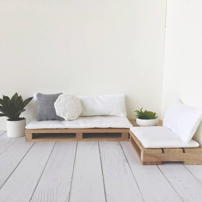 Simple pair of low pallet bench-style couches