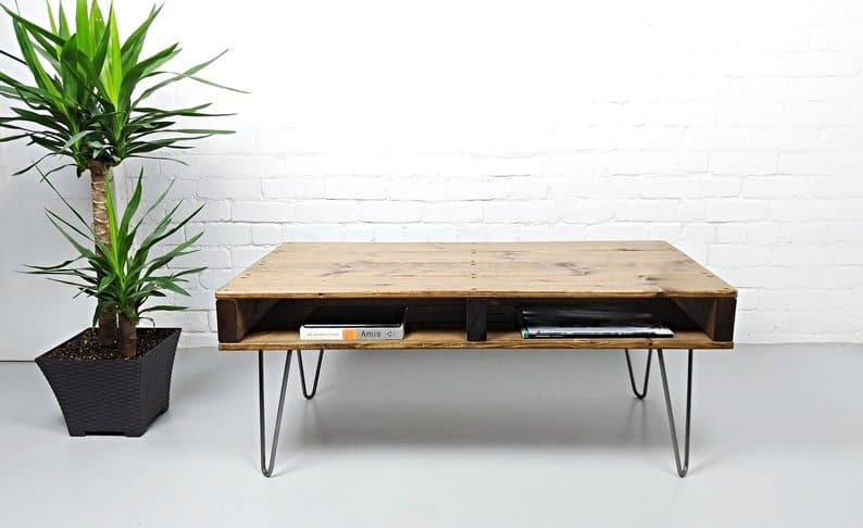 Modern simple square pallet coffee table with storage elevated on thin metal legs