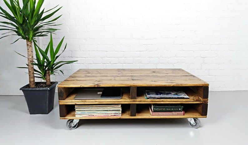 Distressed two-level pallet coffee table on wheels with storage for books, laptop and other items