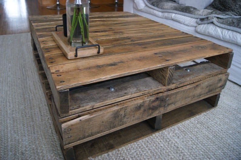 Custom built dark stained 3-level pallet coffee table with no legs