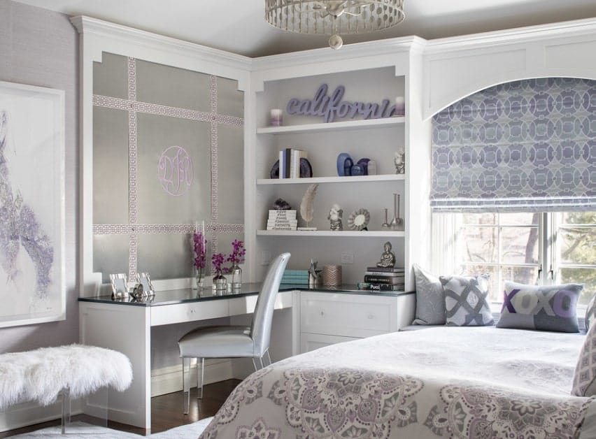 This girl's bedroom looks so romantic with its design. The desk looks very classy while the bed looks very elegant.