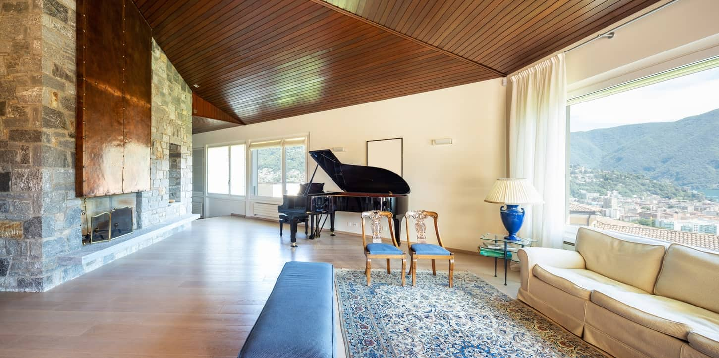 marvellous grand living room fireplace | 70 Beautiful Living Rooms with a Piano (Photos)