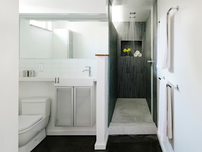 Modish primary bathroom with a luxurious open shower room featuring elegant black walls.