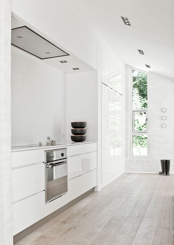 The light-hued hardwood flooring complements the white walls and white shed ceiling that has pin lights mounted on it. The narrow tall window follows the lay of the shed ceiling and brightens up the white built-in cabinets attached to the cooking area.