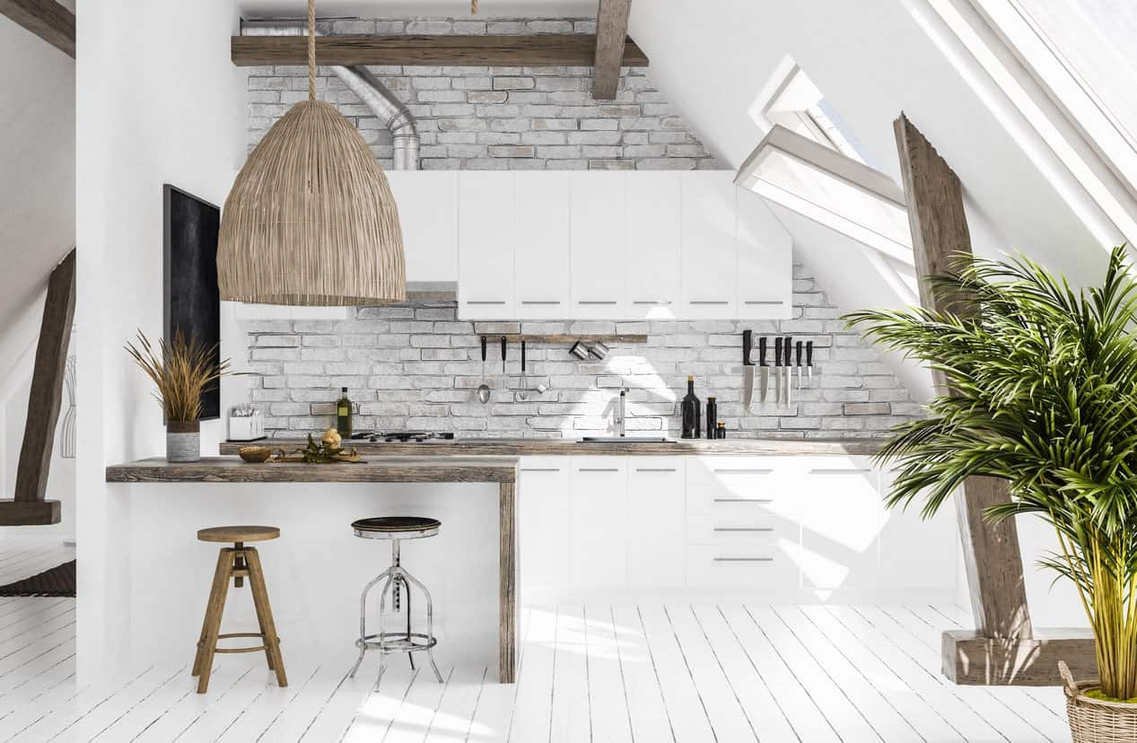 This Scandinavian kitchen has a rustic shade, perfect with the white walls, cabinetry, counters and flooring. The combination looks very smart.