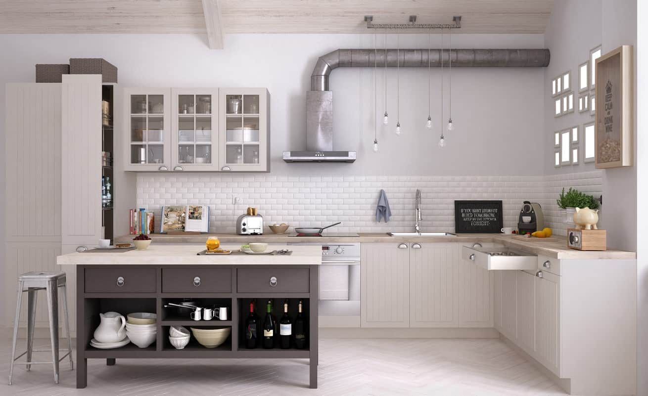 This spacious Scandinavian kitchen features white hardwood flooring matching the white walls, white tiles backsplash and white kitchen counters.