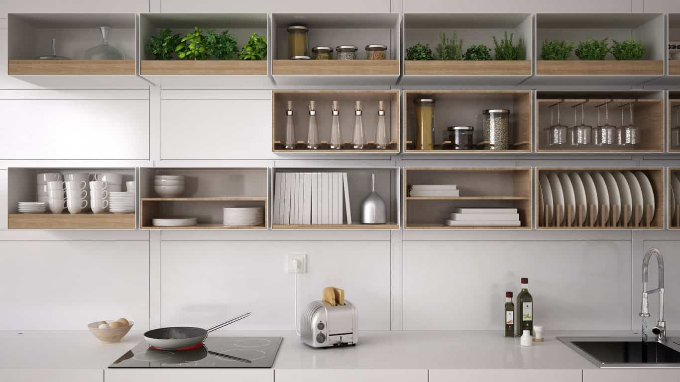 Close up look at this Scandinavian kitchen's smooth white countertop and stylish shelving.