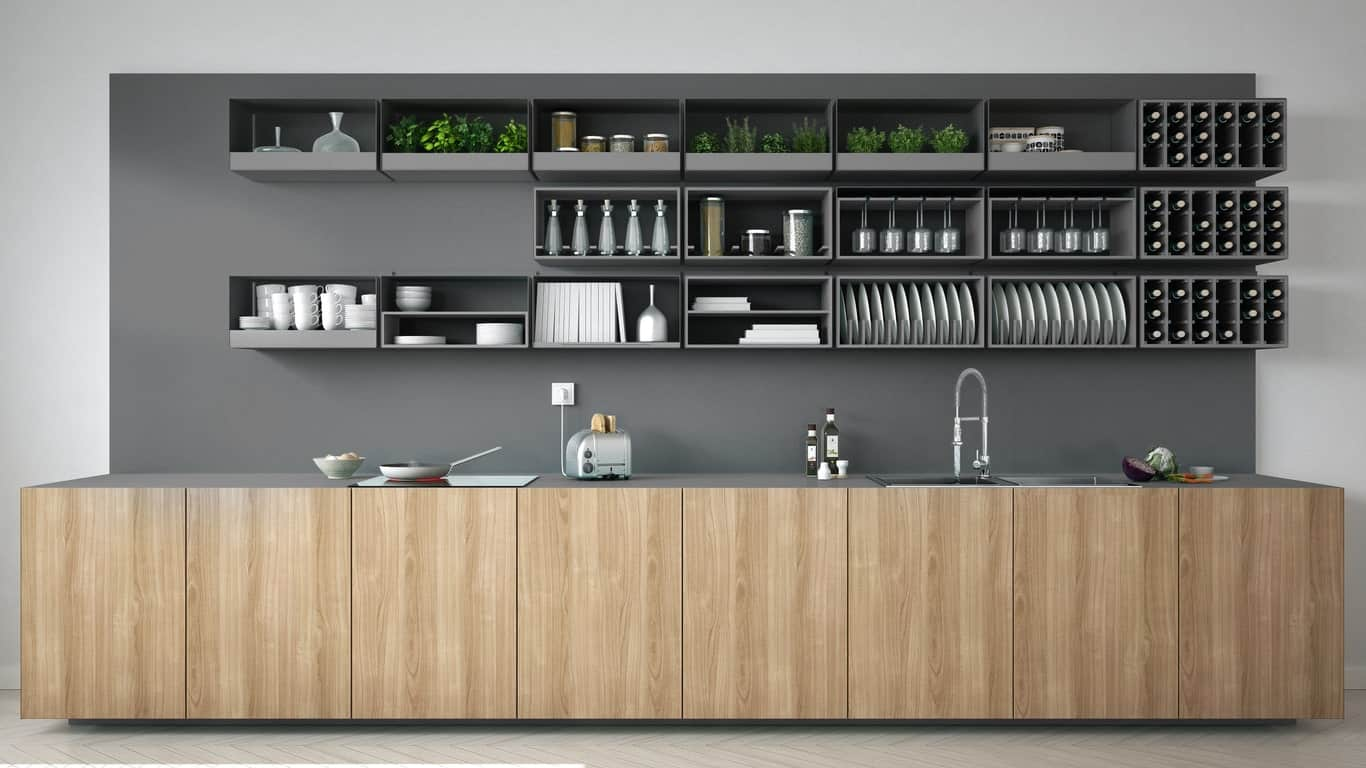 A Scandinavian kitchen style with a very stylish matte finished backsplash and cabinetry, shelving and wine cellar.