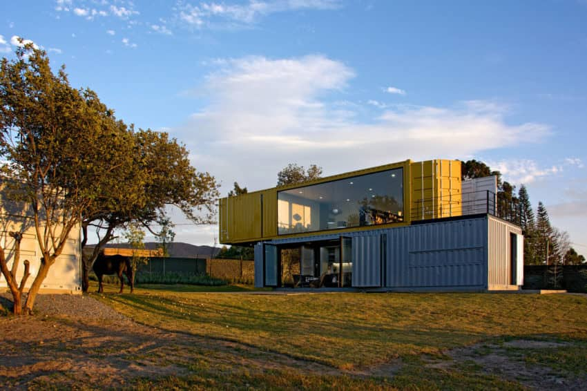 Yellow and Gray Shipping Container House in Mexico by S+ Diseño
