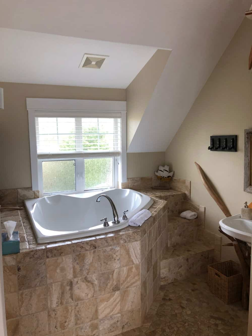 The primary bedroom included this spectacular bathtub alcove and bathroom.