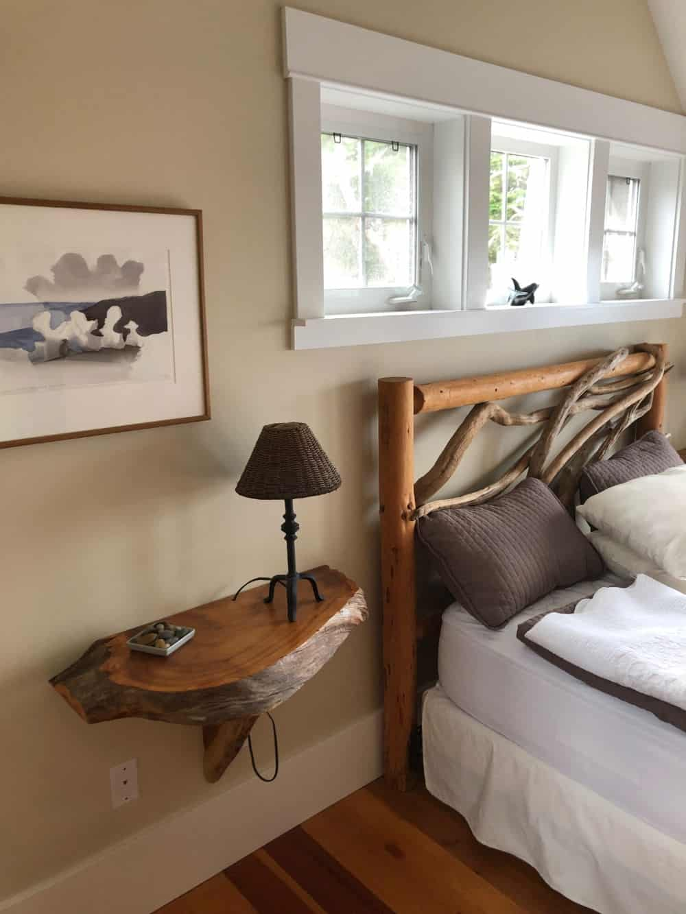 Custom wood floating bedside tables were a very nice touch.