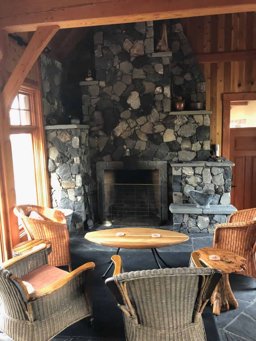 The main hall has a large wood-burning fireplace.